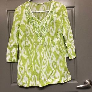 Tops - Flowy quarter length sleeve tunic with beading
